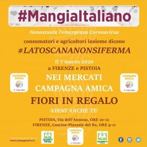 #MANGIAITALIANO: consumatori e produttori agricoli insieme     Sabato 7 marzo, ai mercati Campagna Amica di Firenze e Pistoia:     in regalo meravigliose calle del polo floricolo di Pescia  perché la #LATOSCANANONSIFERMA
