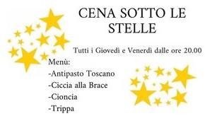 Pescia giovedi 2 e venerdì 3 luglio Piazza Mazzini Cena sotto le Stelle