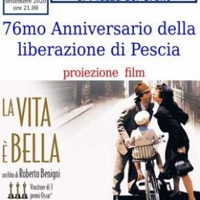 Sabato 5 settembre. Proiezione film 'La vita è bella' in occasione del 76mo anniversario della liberazione di Pescia