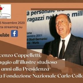 Ricordando Vincenzo Cappelletti. Giovedì 5 novembre pomeriggio diretta streaming
