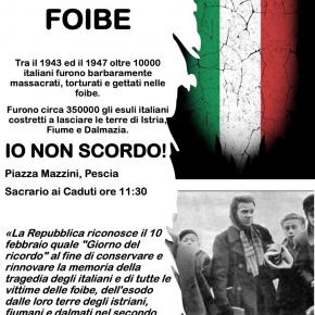 Il Centrodestra di Pescia ricorda le Foibe. Mercoledì 10 Febbraio alle ore 11,30 al sacrario presso palazzo del Vicario Pescia.