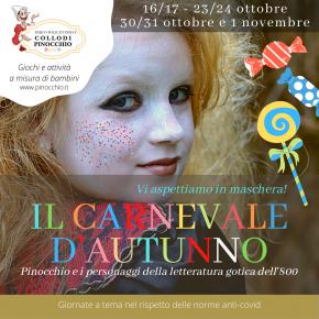 Torna il Carnevale d'autunno al Parco di Pinocchio  dedicato alla letteratura gotica dell'Ottocento.  Bambini in maschera, giochi, dolcetti e aree a tema.