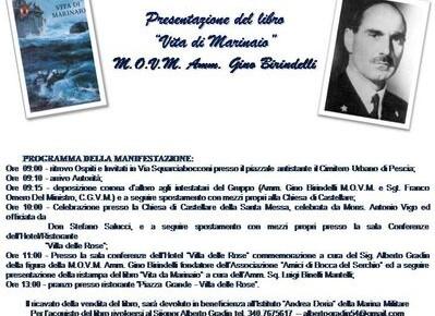Pescia sabato 30 ottobre  9° Festa del gruppo A.N.M.I.   Presentazione del libro 'Vita di marinaio' dell'ammiraglio Gino Birindelli.